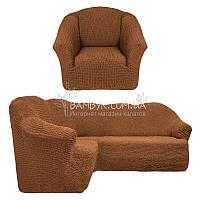 Чехол универсальный на угловой диван с креслом без оборки Venera (натяжной) коричневый