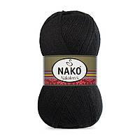 Пряжа Nako Nakolen 5 217 черный (нитки для вязания Нако Наколен 5) 49% шерсть - 51% премиум акрил