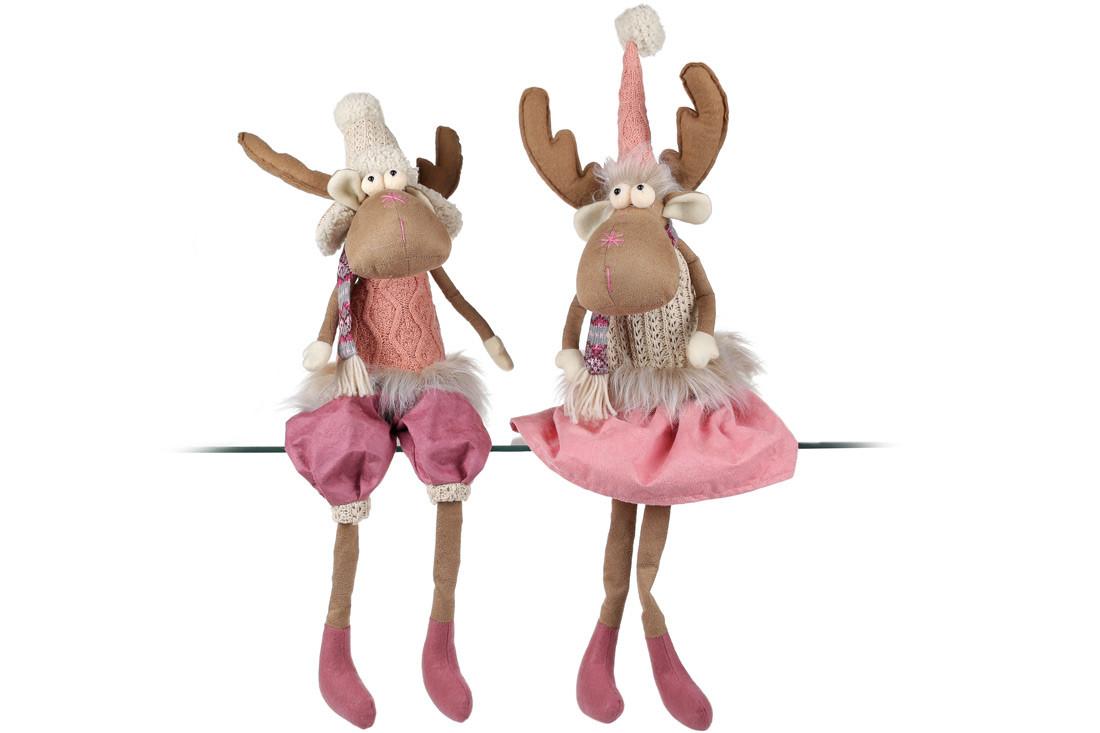 Мягкая декоративная игрушка Олени 60см, 2 вида, цвет - розовый,  в упаковке 1шт. (880-103)