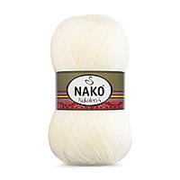 Пряжа Nako Nakolen 5 256 молочный (нитки для вязания Нако Наколен 5) 49% шерсть - 51% премиум акрил