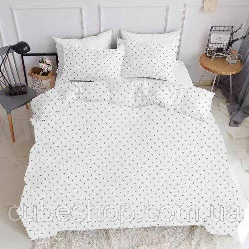 Комплект полуторного постельного белья DOTS SILVER WHITE (хлопок, ранфорс)