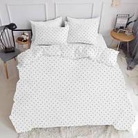 Комплект полуторного постельного белья DOTS SILVER WHITE (хлопок, ранфорс), фото 1