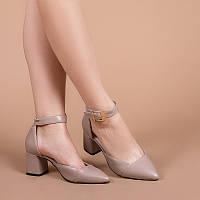 Женские туфли кожаные с ремешком вокруг щиколотки, на невысоком каблуке. Каблук 6,5 см
