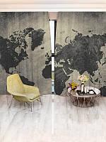 Фотоштора Черно-белая карта мира (15456_1_1)