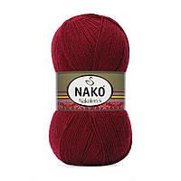 Пряжа Nako Nakolen 5 999 бордо (нитки для вязания Нако Наколен 5) 49% шерсть - 51% премиум акрил