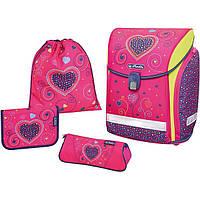 Ранец Herlitz Midi Plus Pink Hearts Сердца 4 предмета 50013715 школьный набор для первоклассника