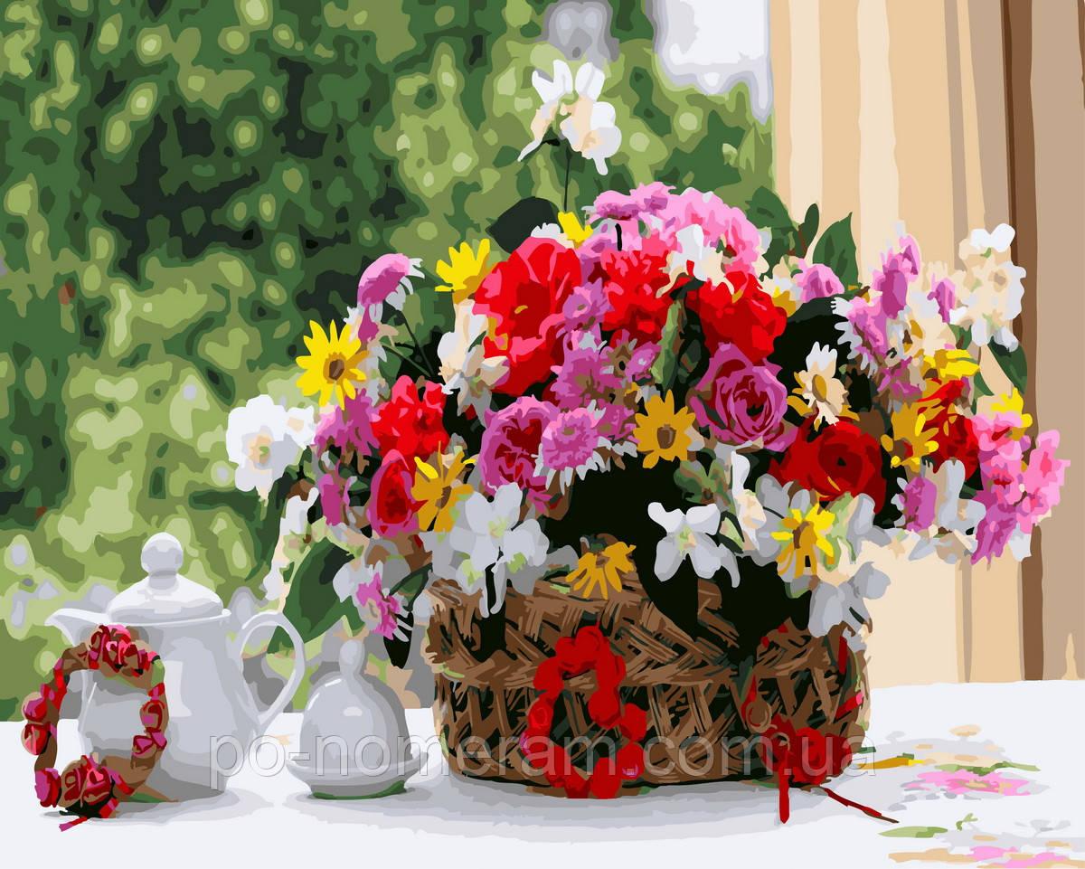 Раскраска для взрослых Корзинка полевых цветов (BK-GX29811 ...