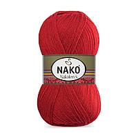 Пряжа Nako Nakolen 5 1175 красный (нитки для вязания Нако Наколен 5) 49% шерсть - 51% премиум акрил