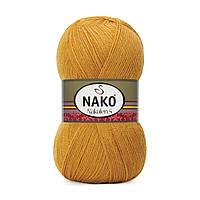 Пряжа Nako Nakolen 5 1808 горчичный (нитки для вязания Нако Наколен 5) 49% шерсть - 51% премиум акрил