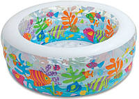 Детский надувной бассейн манеж и батут «аквариум» intex 58480 (152х56 см) kk hn
