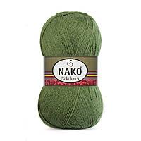 Пряжа Nako Nakolen 5 1902 хаки (нитки для вязания Нако Наколен 5) 49% шерсть - 51% премиум акрил