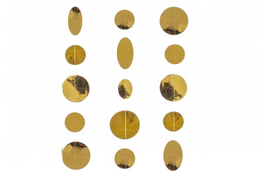 Гирлянда зеркальные кружочки 2,5 метра золото