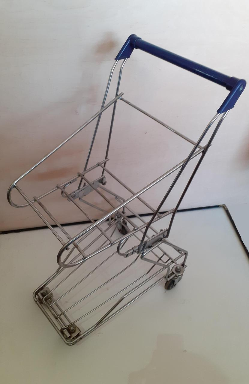 Тележка покупательская TBF5-RD для покупательских корзин с поддоном, синий пластик