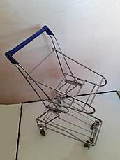 Тележка покупательская TBF5-RD для покупательских корзин с поддоном, синий пластик, фото 2