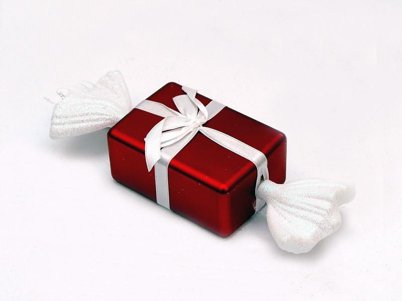 Новогодняя елочная игрушка - фигурка Конфета прямоугольная, 12 см, красный, матовый, пластик ( 110162)