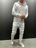 Мужской спортивный костюм белый верх худи
