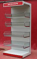 """Торговый стеллаж с корзинами """"Маго"""" (Польша), 230х100 см., полки - 60, 60, 50, 50 см., Б/у"""