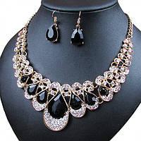 """Комплект бижутерии """"Cavalli black"""" позолоченный с кристаллами swarovski"""