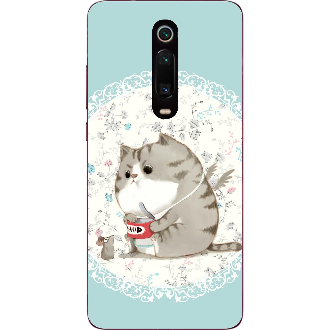 Силиконовый чехол для Xiaomi Mi 9t / K20 / Mi 9t Pro / K20 Pro с картинкой Серый кот