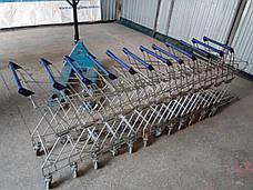 Тележка покупательская TBF5-RD для покупательских корзин с поддоном, синий пластик, фото 3