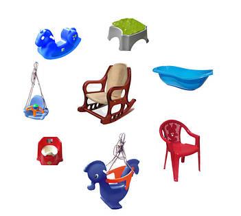 Дитячі меблі, гойдалки та аксесуари для ванної з пластику