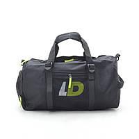 Дорожная сумка LD 1827 черная (зеленые буквы)