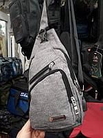 Мужская сумка-слинг на грудь или через плечо с USB-выходом