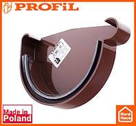 Водосточная пластиковая система PROFIL 130/100 (ПРОФИЛ ВОДОСТОК). Заглушка желоба правая Р, коричневый