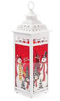 Подсвечник - фонарь металлический Снеговик 38 см