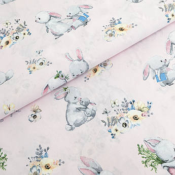 """Польская хлопковая ткань """"кролики с морковками на розовом"""""""