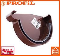 Водосточная пластиковая система PROFIL 130/100 (ПРОФИЛ ВОДОСТОК). Заглушка желоба левая L, коричневый