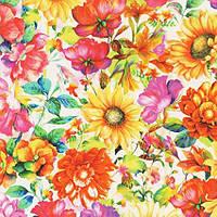 """Ткань для пэчворка и рукоделия американский хлопок  """"Яркие крупные цветы"""", 24*55 см"""