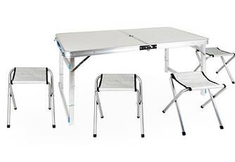 Стол для пикника раскладной со 4 стульями Folding Table 120х60х55/60/70 см 3 режима высоты (Усиленный) Бежевый