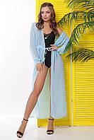 Платье-туника из голубого шифона в горошек для пляжа