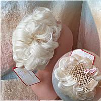 Шиньон-накладка короткий на гребешках снежный блонд 703- 613А