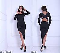 Эффектное женское платье со шлейфом и красивой открытой спиной Bastal
