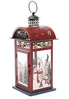 Фонарь - подсвечник Снеговики 40 см, цвет: красный