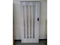 Двери пластиковые остекленные глянцевые  2,03 х 0,86 беленый ясень башенка 610