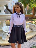Юбка школьная с вышивкой крестиком на поясе