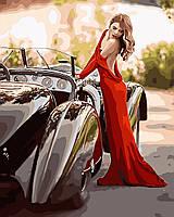 Картина по номерам Девушка в красном