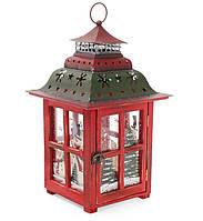 Подсвечник фонарь Снеговики 39 см, цвет: красный