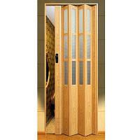 Двери-гармошка ПВХ  2030x860 мм светлый дуб стекло 802