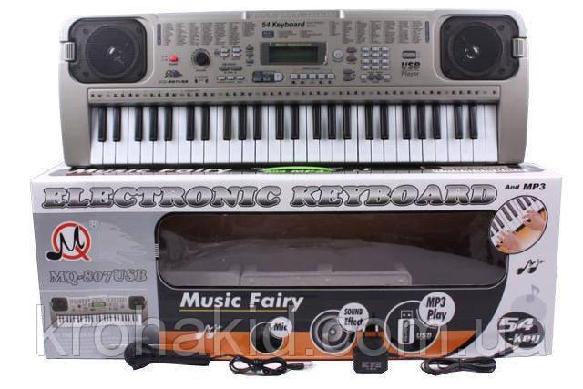 Детский синтезатор / пианино / орган MQ-807 с микрофоном, 54 клавиши, LCD Display, MP3,