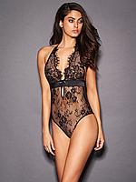 Женское нижнее белье, кружевное боди в черном цвете. Размеры XS