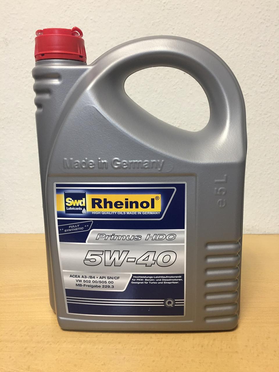 Масло SWD RHEINOL PRIMUS HDC 5W-40 5л.