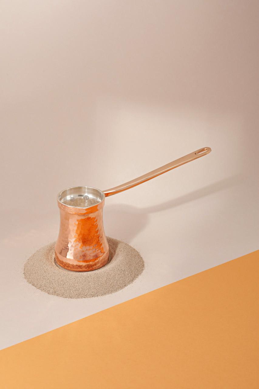 Медная кованная турка Soy ручной работы покрыта серебром внутри (85 мл)