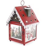 Декоративный фонарь подсвечник Домик, 35см, цвет - красный