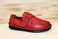 Туфли женские темно-красные на липучках Т290
