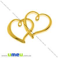 Подвеска металлическая Сердца, Золото, 32х20 мм, 1 шт (POD-000518)