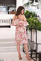 Платье женское летнее легкое с открытыми плечами и спиной евро-бенгалин 42-48 размеров, 2 цвета 46, пудра
